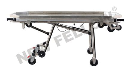 Stainless Steel Automatic Loading Funeral Stretcher Trolley with Telescopic Handles