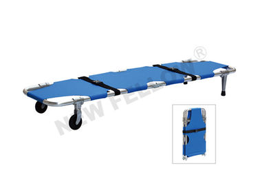 Good Quality Ambulance Stretcher & Blue Aluminum Alloy Wheeled Emergency Folding Stretcher ISO9001 / 13485 on sale