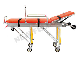 Good Quality Ambulance Stretcher & Aluminum Alloy Adjustable Wheeled Automatic Loading Stretcher With 65° Back Angle on sale