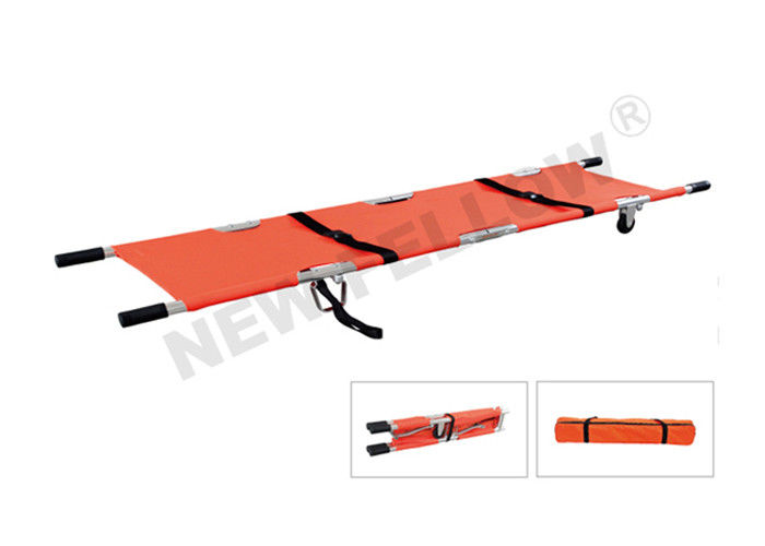 Orange Double - folded Wheeled Pole Emergency Folding Stretcher for Ambulance
