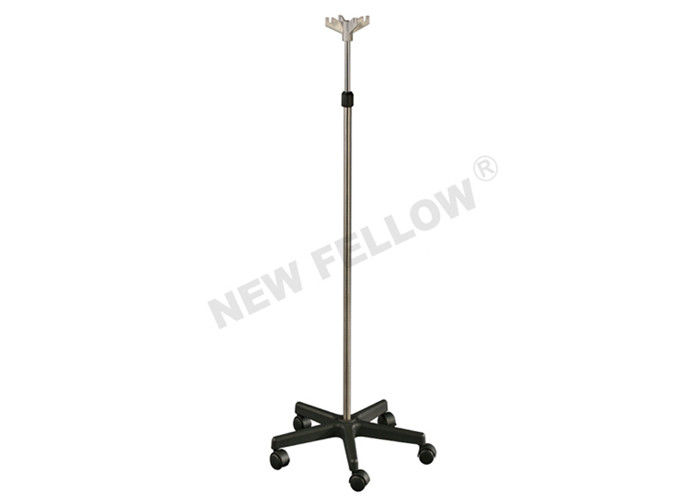 Hospital Stainless Steel Pole Nylon Base Medical Drip Stand With Plastic Hooks