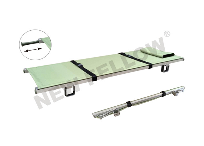 Aluminum Army Emergency Folding Stretcher With Flexible Nylon Handles