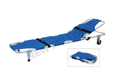 Aluminum Alloy And Oxford Leather Folding Stretcher With Wheels / Backrest
