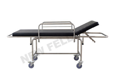 black Emergency Transfer Patient Stretcher Trolley For Emergency Center