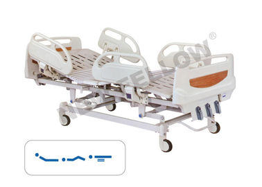 Powder - coated Steel Manual Three Crank Medical Hospital Beds With ABS Guardrail